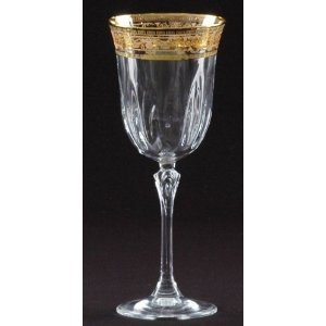 Lead Crystal Amber Gold Water Goblets Set of 6 by Italian Glassware