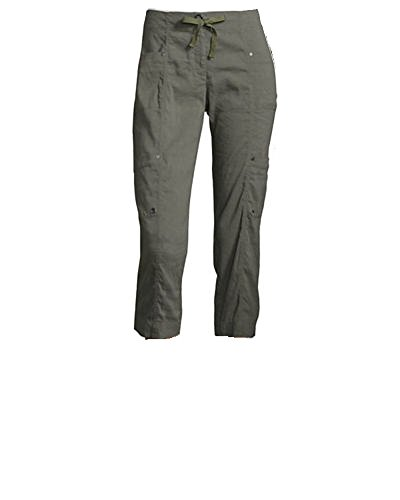 Eileen Fisher Womens Drawstring Cropped Cargo Pants 8P Olive