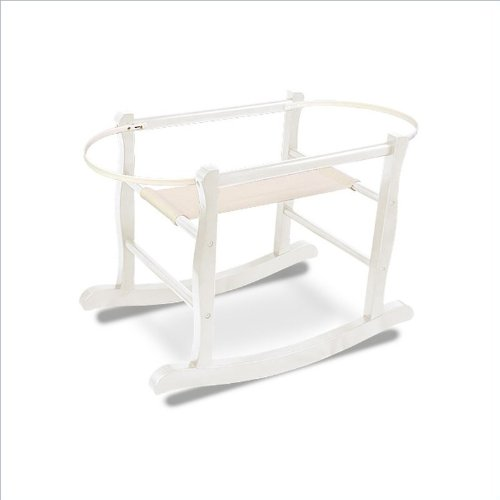 Jolly Jumper Deluxe Rocking Basket Stand in Antique White Hardwood