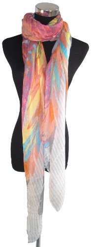 Large White, Blue, Pink, Orange, Yellow Feather Pattern Chiffon Scarf or Sarong
