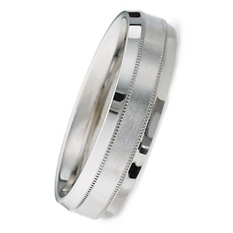 6.00 Millimeters Palladium 950 Wedding Band Ring with Brushed Satin Center and Bright Edges, Comfort Fit Style SE5296PD, Finger Size 7¾