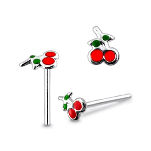 Piercingworld Hand Painted Cherry 22Gx5/16 (0.6x8mm) 925 Sterling Silver Straight Nose Pin Piercing Jewelry
