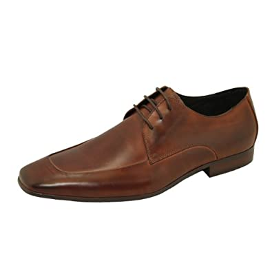 Natazzi Italian Napa Calfskin Leather Shoes Men's Modern Delray Moc Toe Oxford Lace Up Model Milano L-2010 Antique Look Brown (9 D(M) US / 42 (M) EU)