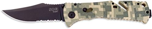Sog Trident Knife W/ Ps Fold 3.75In. Steel Blade And Digi Camo Grooved Handle, Black Tini Tf10-Cp