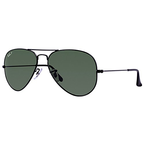Ray-Ban AVIATOR LARGE METAL - BLACK Frame CRYSTAL GREEN POLARIZED Lenses 58mm Polarized (Ray Ban Metal Frame compare prices)