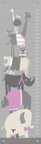 "Oopsy Daisy Happy Animal Herd Growth Chart, Gray/Pink, 12"" x 42"""