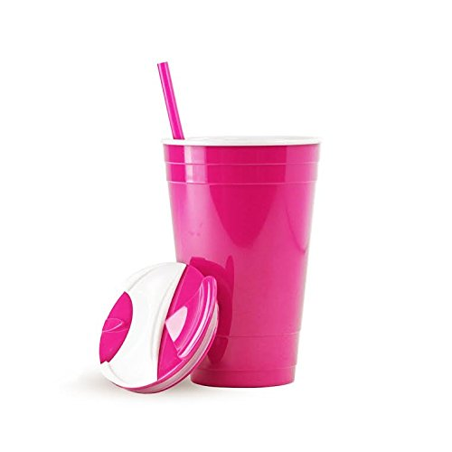 Party Cup W/Lid & Straw - Double Wall For Hot Or Cold Drinks - Acrylic - 16Oz. Capacity - Neon Pink front-695228
