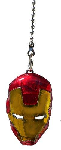 DC & Marvel comics SUPER HERO superhero character PEWTER Ceiling FAN PULL light chain (Iron Man Mask - red & gold) (Character Ceiling Fans compare prices)
