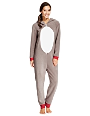 Hooded Reindeer Design Onesie
