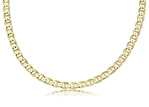 "14K Solid Yellow Gold Mariner Link Chain / Necklace 6mm Wide 22"" inch Long - Weighing 27.7 Gr."