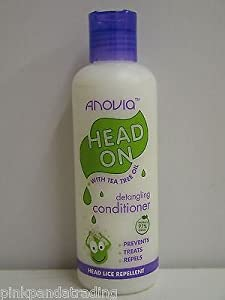 2 X HEAD LICE REPELLENT DETANGLING CONDITIONER WITH TEA TEA OIL HEAD ON BY ANOVIA