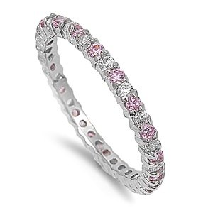 2mm Sterling Silver WHITE GOLD TONE Stackable Handset PINK & CLEAR Swarovski Crystal CZ Eternity Engagement Ring 4-10 (4)