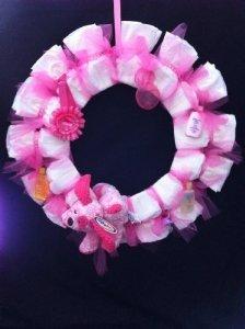 Pink Girl Diaper Wreath - Baby Shower Gift - Baby Shower Center Piece