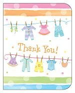Baby Shower Clothes - Thank You Cards - 8/pkg