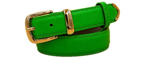 New Classy Womens Skinny Leather Belt with Shiny Buckle Many Colors