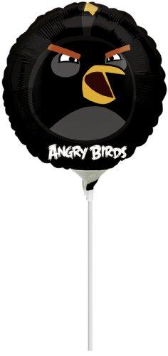 Folienballon Angry Birds schwarz mit Aufdruck schwarzer Vogel, mit Luft gefüllt, ca. 20 cm