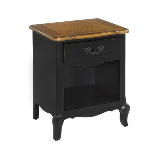 Home Styles 5519-42 The French Countryside Night Stand, Oak/Rubbed Black front-1029966