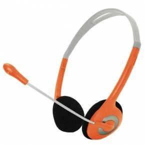 Orangen Kopfhörer mit Mikrofon & Lautstärkeregler PC Headset mit Mikrofon für Skype