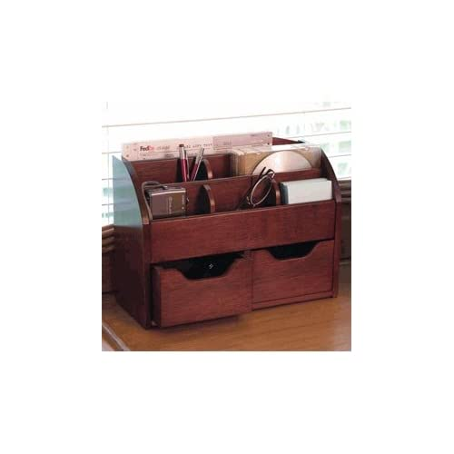 Lipper 209 space saving cherry wood desk - Cherry desk organizer ...