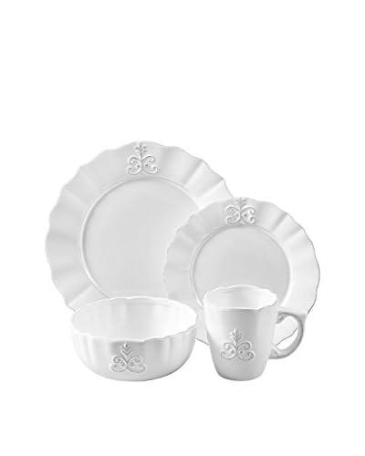 American Atelier 16-Piece Bianca Fleur Dinnerware Set, White