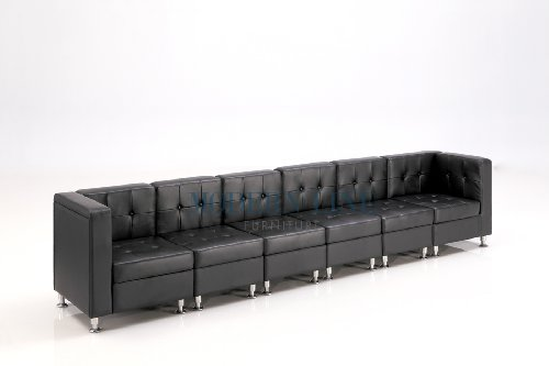 Cheap Modular Black Leather Extra Long Sofa Shop