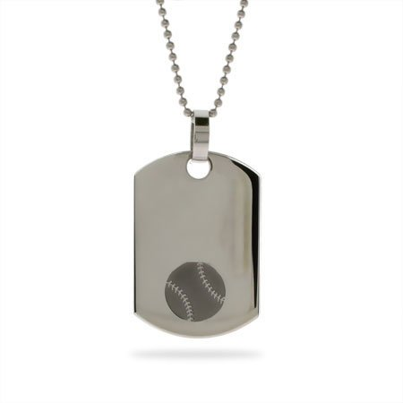 Stainless Steel Baseball Dog Tag Length 20 inches (Lengths 18 inches 20 inches 24 inches Available)