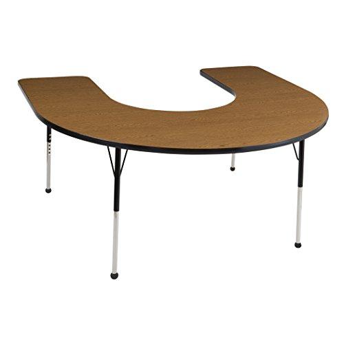 Ecr4kids 60 x 66 horseshoe activity school table standard legs w ball glides adjustable - Table glides for legs ...