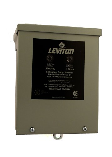 Leviton 51120-3R 120/240 Volt Panel Protector 4-Mode Protection, Light Commercial/Residential Grade, In NEMA 3R Enclosure
