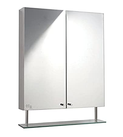 Film Backed Glass Mirror Cabinet - Surface Mount Type - Stylish Stainless Steel Finish - Shelves