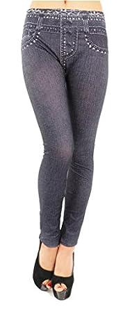 New Stylish Denim Look Ripped Faux Jean Blue Leggings Tights Pants