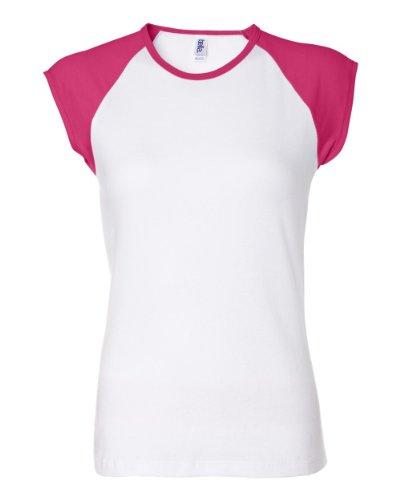 Bella Canvas Ladies' Baby Rib Cap-Sleeve Contrast Raglan T-Shirt - White/Fuchsia - L front-938465