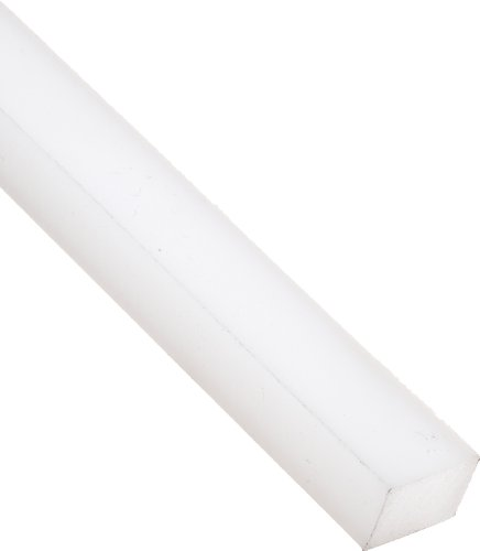 UHMW (Ultra High Molecular Weight Polyethylene) Rectangular Bar, Opaque White, Standard Tolerance, 1/4