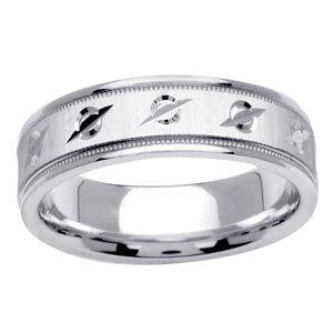 Women's 14k White Gold Engraved Milgrain Wedding Band / Ring (6.5 mm)