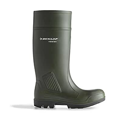 Dunlop Purofort Gummistiefel D460933 CI, PVC, kürzbarer Schaft, dunkelgrün, schwarze Sohle