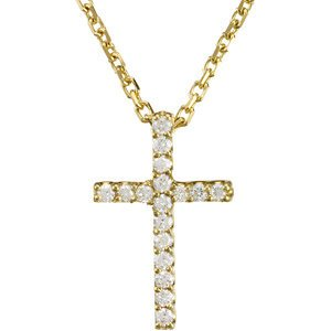 Petite Diamond Cross 14k Yellow Gold Necklace, 16