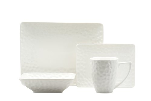 Red Vanilla Marble 16-Piece Rectangular Dinnerware Set