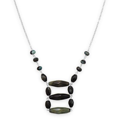 Black and Green Agate Necklace Ladder Style Sterling Silver Adjustable Length- Made in the USA