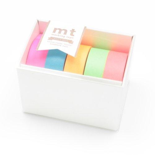 カモ井加工紙 mt ギフトボックス ネオン 15mm幅×10m巻き 5巻セット MT05G002