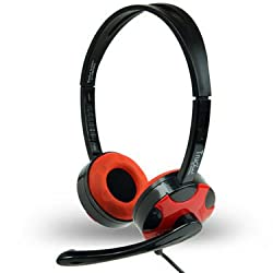 Amkette TruChat Technic With Flexible Mic Design & Volume Controller (RED)