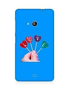 Amez designer printed 3d premium high quality back case cover for Microsoft Lumia 535 (Super Love Candie in Hand)