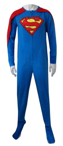 Superman / Supergirl Fleece Onesie Footie Pajama With Cape For Men (Small) front-703588