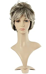 MapofBeauty Stylish Hair Gray With White Short Natural Curly Wigs Synthetic Replacement Wigs-ladies