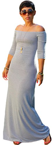 Blorse Quarter Sleeves Off Shoulder Cotton Maxi Dress(Grey)