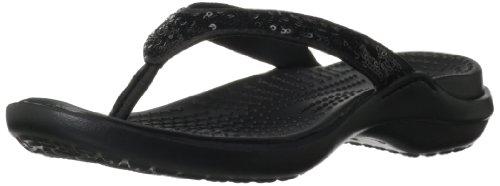Womens Black Flip Flops front-482405
