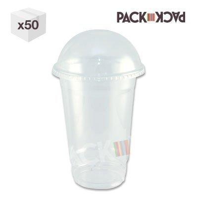 Gobelet à smoothie PET transparent avec cuvercle bombé et paille 475 ml - (lot de 100)