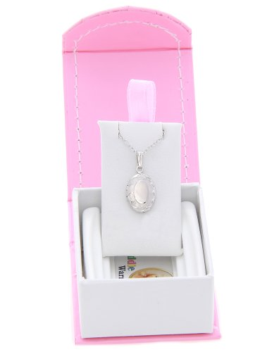 Silver Engravable Child Size Oval Locket with Border Necklace