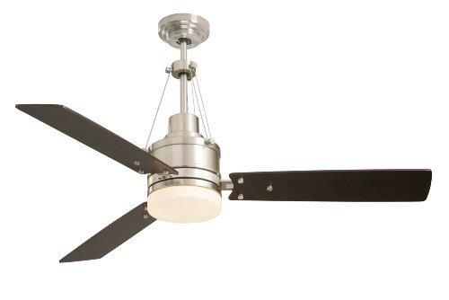 Emerson Cf205Bs Highpoint Indoor Ceiling Fan, 52-Inch Blade Span, Brushed Steel Finish, Dark Mahogany Blades And Opal Matte Glass