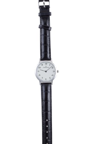 Claude Bernard Women's 20059 3 BB Classic Ladies - Slim Line White Dial Black Leather Watch