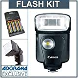 Canon Speedlite 320EX Flash - U.S.A. Warranty - Basic Outfit - with 4 NiMH Batteries, Charger, Mini Soft Box Diffuser