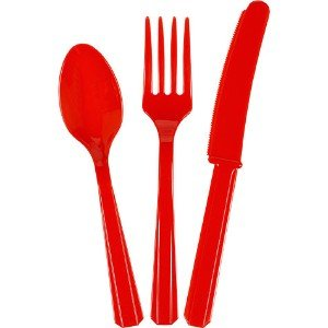 Red Assorted Disposable Cutlery, 48 Piece Set,